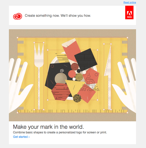 Example of an informative email from Adobe.
