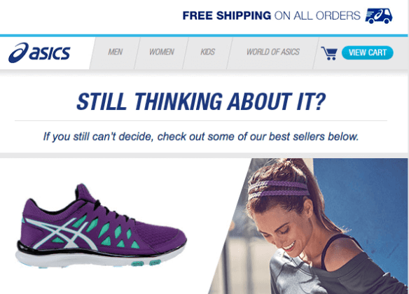 Example of Asics recommendation email