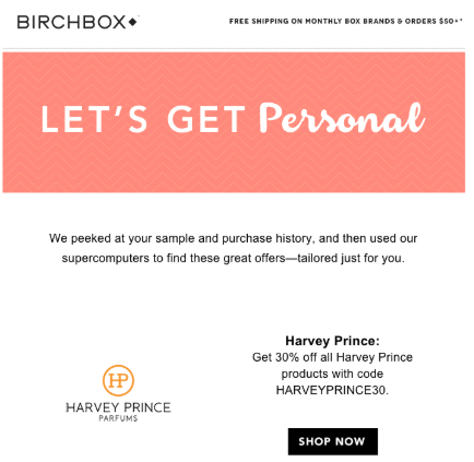 Example of BirchBox custom deal