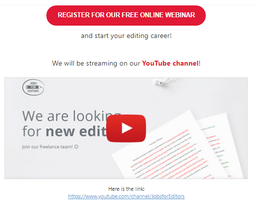 Example of an email from Jobs for Editors with a video embedded