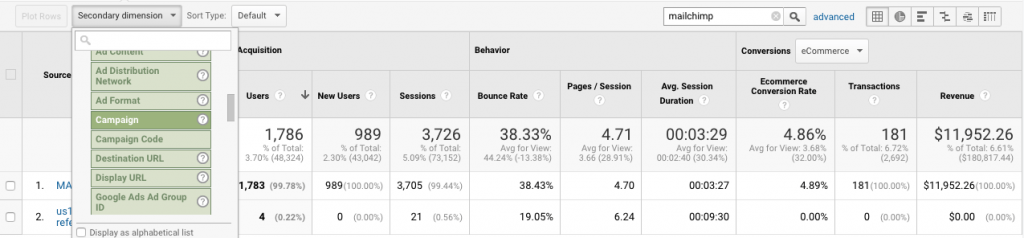 view of google analytics report sorted by campaign UTM