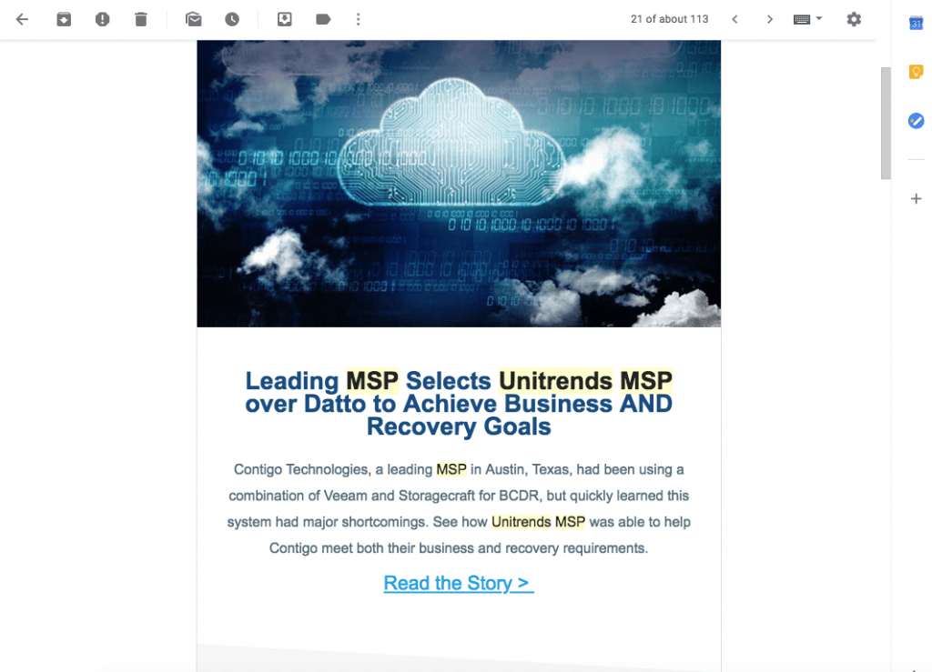 Unitrends MSP drip email that shares a case study