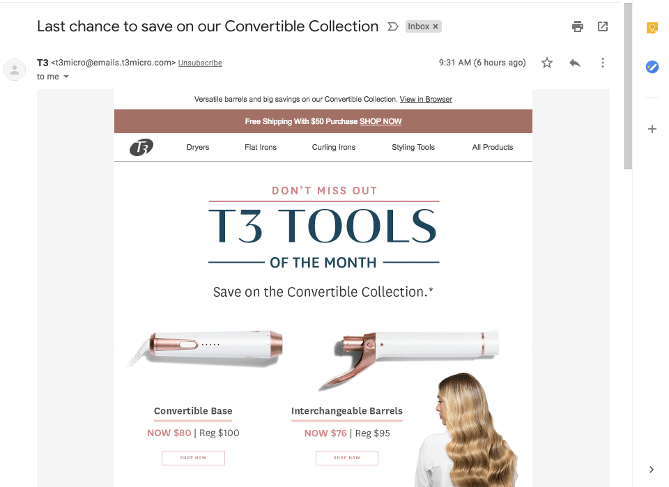 Last chance subject line from T3 Tools promoting the end of a month long sale