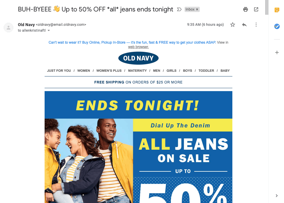 "Old Navy Subject Line that includes the words ""ends tonight"""