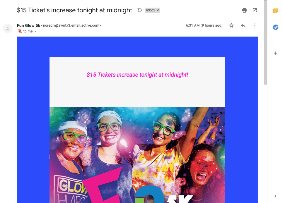 "The Color Run subject line that says ""prices increase tonight"""