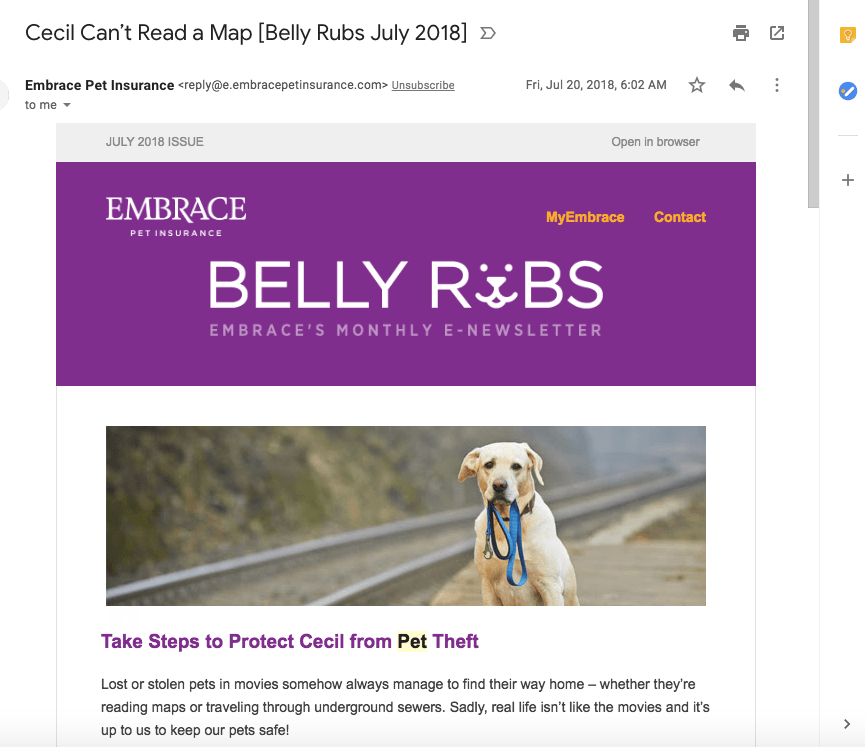 email subject line personalized by pet's name