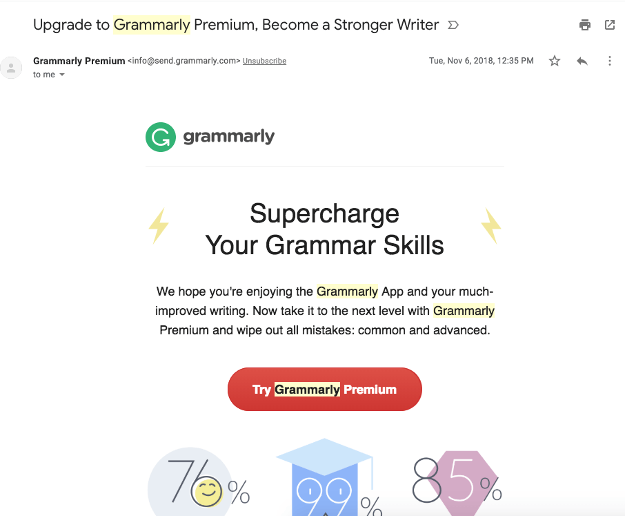 example of upsell email number one from grammarly