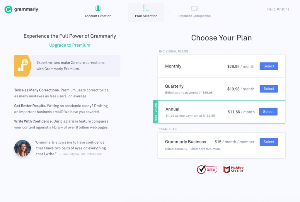 Screenshot of Grammarly upgrade page
