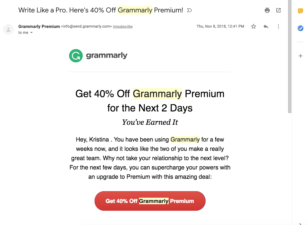 Screenshot of Grammarly upsell email offering 40% discount