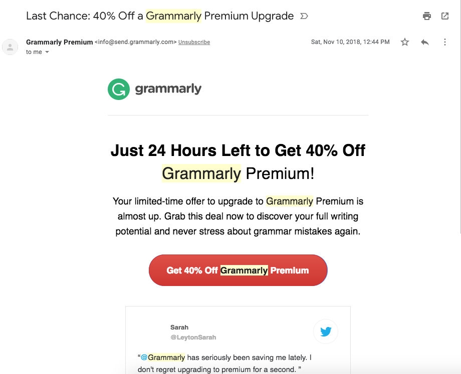 Screenshot of Grammarly upgrade email