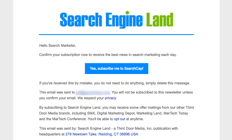 Example of an email from search engine land