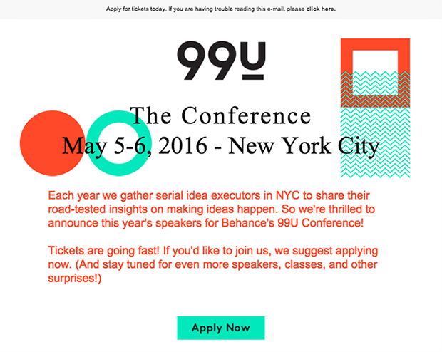 99U email featuring conference in New York City