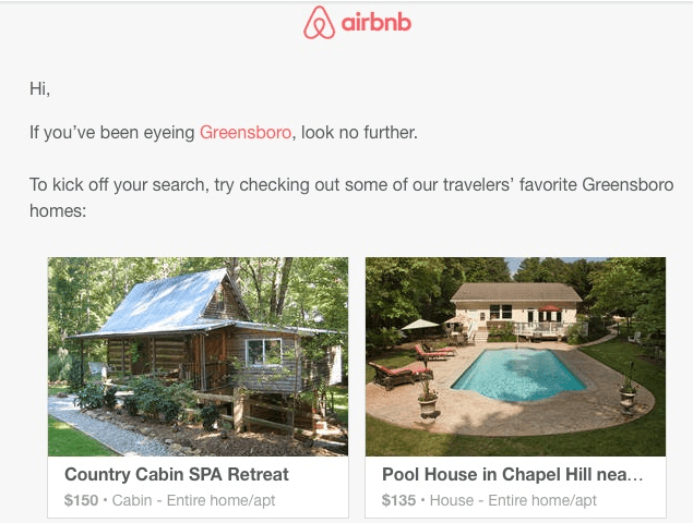 Airbnb location email