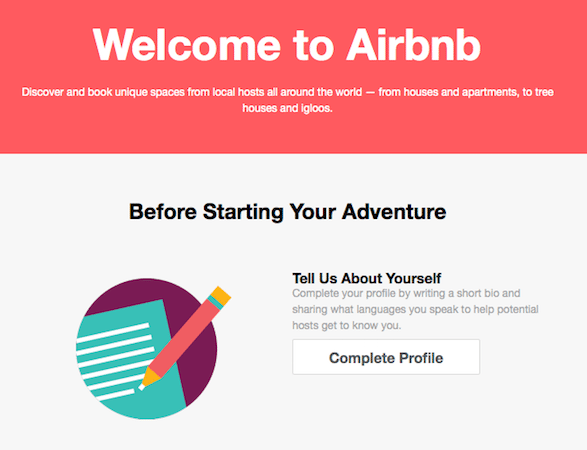 "Airbnb ""Fill out your profile"" email"