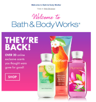 Bath and body works welcome email series