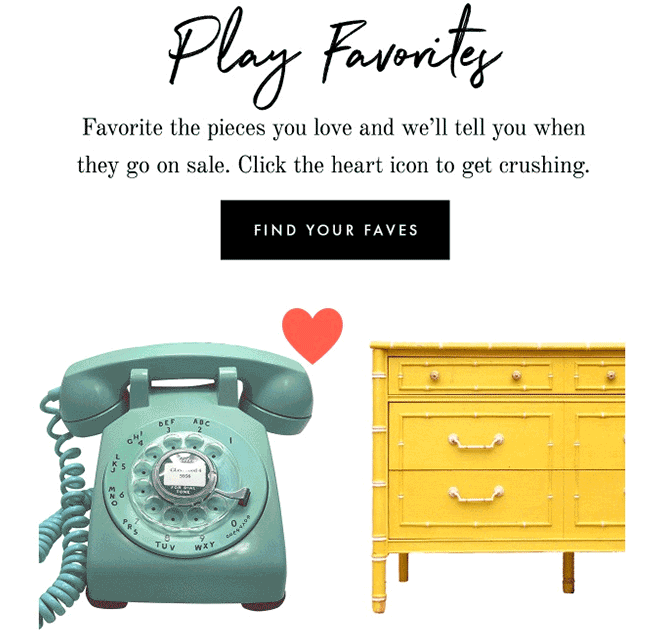 "Chairish ""Play Favorites"" advertising email"