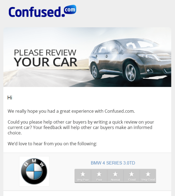 Confused.com car review request