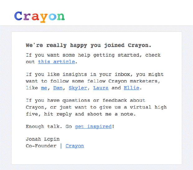 Crayon welcoming email with links to content
