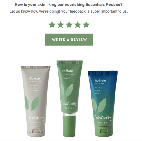 Nourishing Essentials email review request