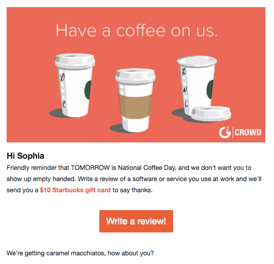 Free coffee G2 Crowd email