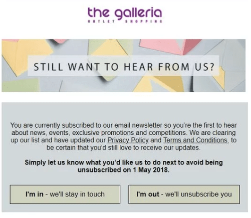 Galleria permission email
