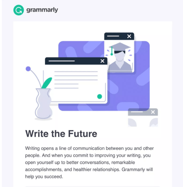 "Grammarly ""Write the Future"" welcome email"