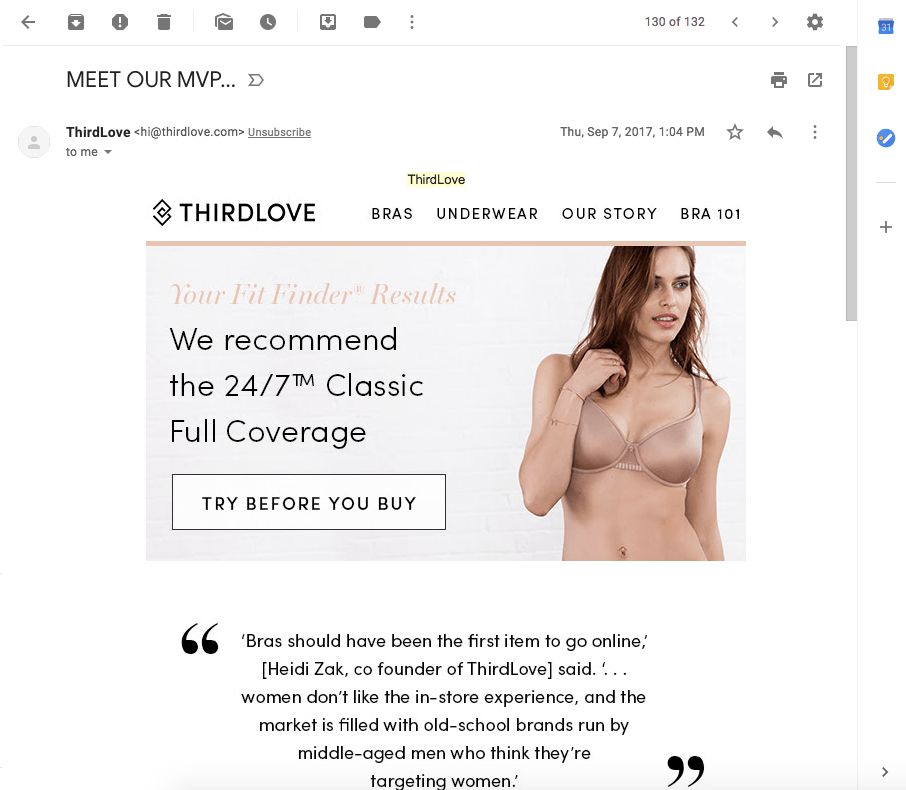 Screenshot of third email from ThirdLove