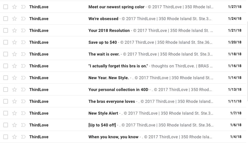 Screenshot of emails in the fifth month