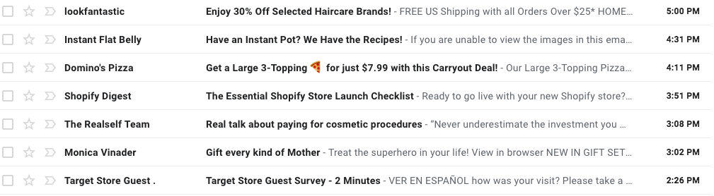 screenshot of subject lines showing how one with an emoji stands out