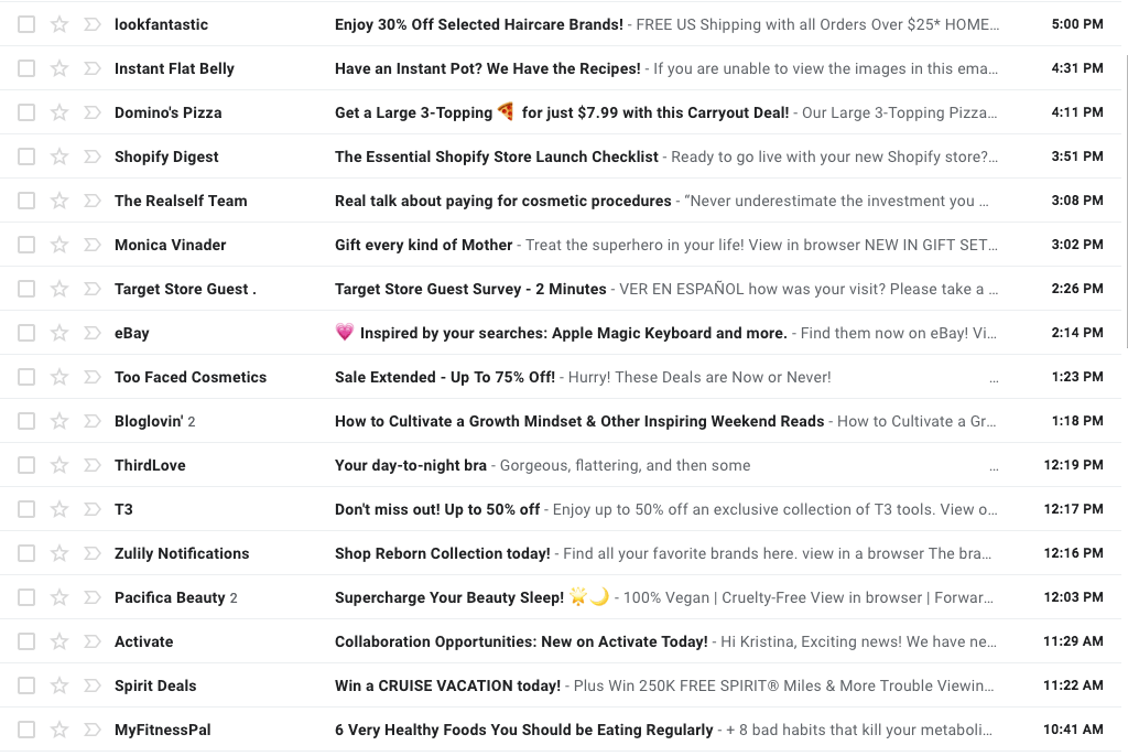 Holiday Email Campaign examples: Screenshot of inbox with subject lines