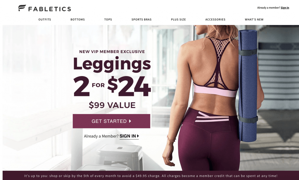 screenshot of Fabletics homepage