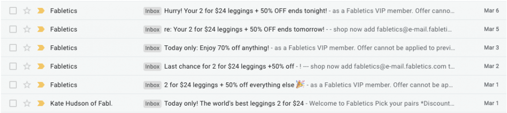 fabletics email automation chain