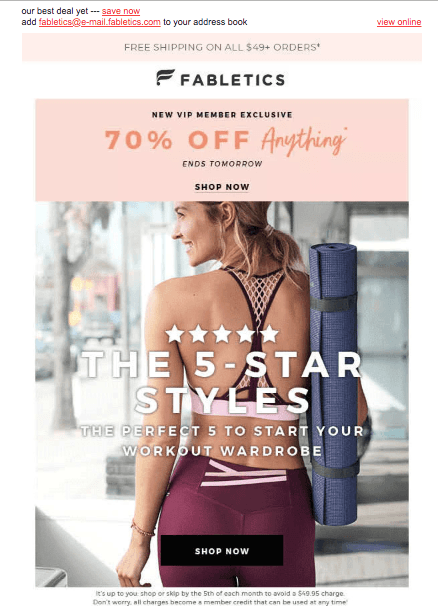 Limited time offer example: screenshot of fabletics email #4