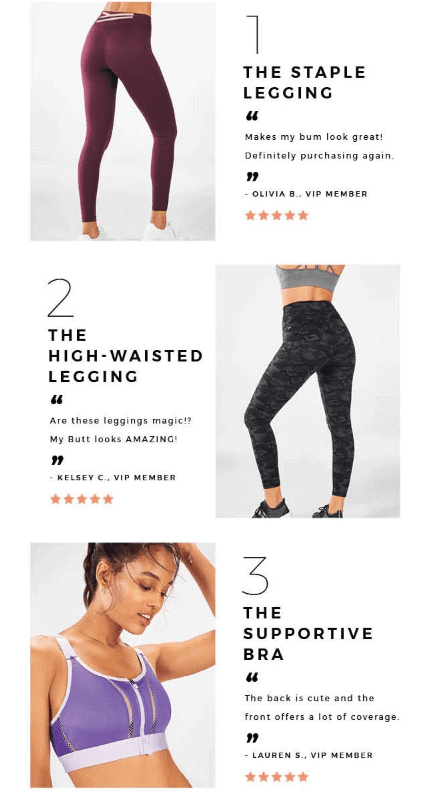 screenshot of fabletics email showing top product options