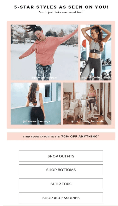 screenshot of fabletics email showing customers in their clothing