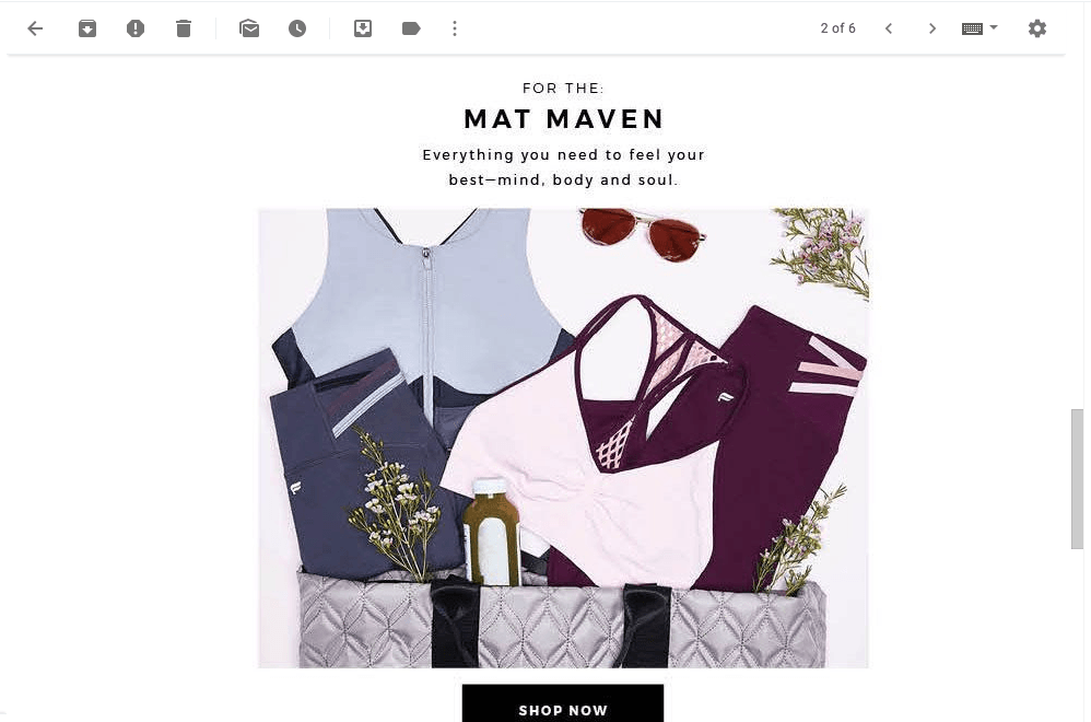 screenshot of mat maven collection of products in email