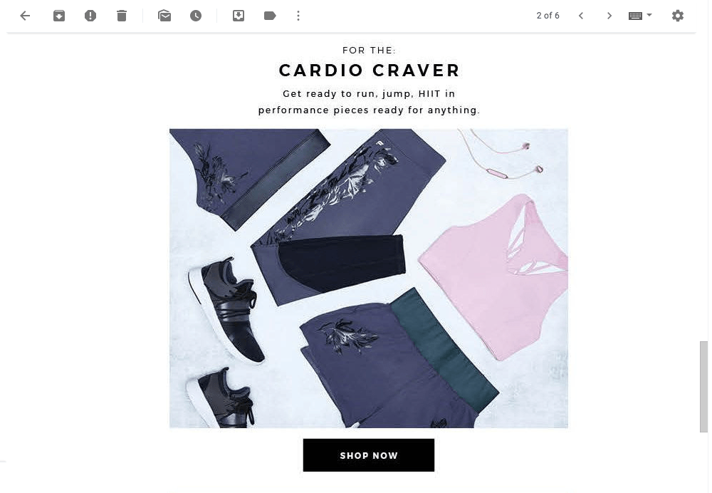 screenshot of cardio craver collection in email