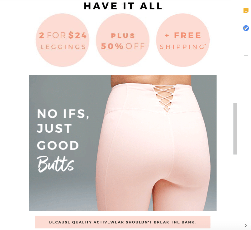 screenshot of fabletics final offer email