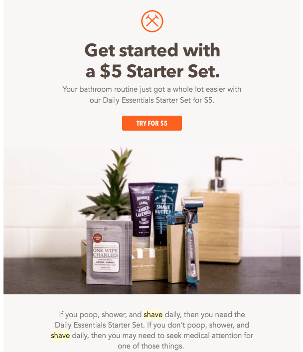 Screenshot of Dollar Shave Club email