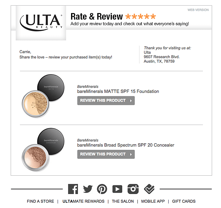 Ulta multiple items to review email