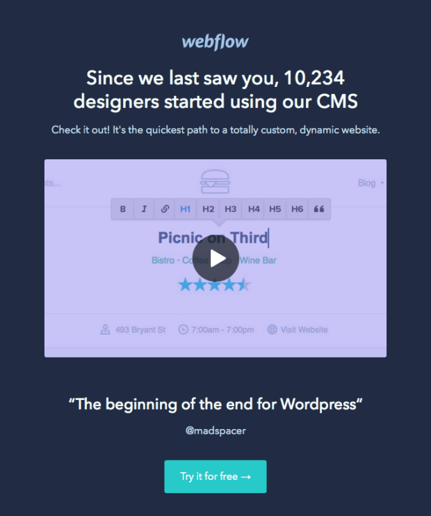 Webflow email featuring social proof