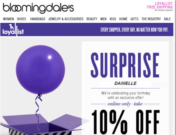 Bloomingdales loyalty email