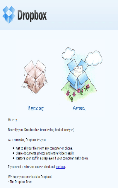 "Dropbox ""We Miss you"" Email"