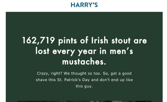 Harry's St Patrick's day email