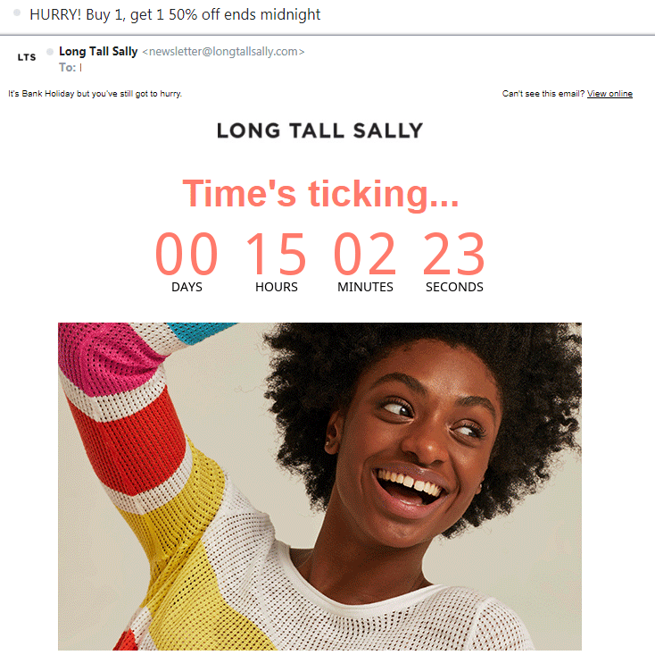 Long Tall Sally FOMO countdown email