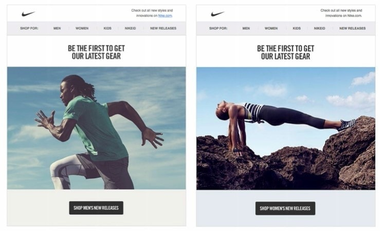 Nike Dynamic gender email