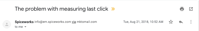 the problem with measuring last click email example