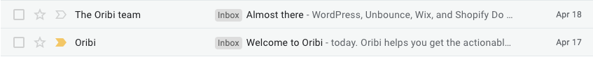 Oribi automated emails in inbox