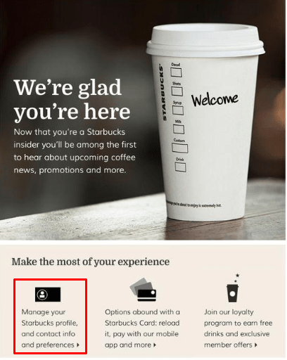"Starbucks ""Change your profile"" email"