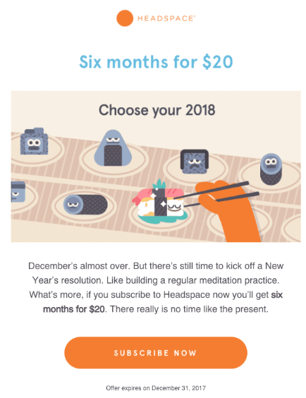 "A/B Testing Email Example: Headspace visual email ""Six months for $20"""